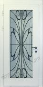 Входные белые двери со стеклом