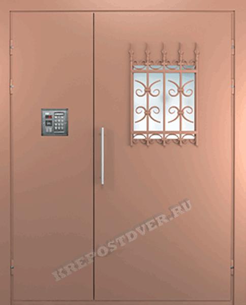 двухстворчатая тамбурная железная дверь в подъезд